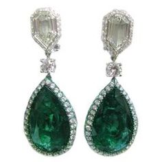Emerald & Diamond Reversible Drop Earrings