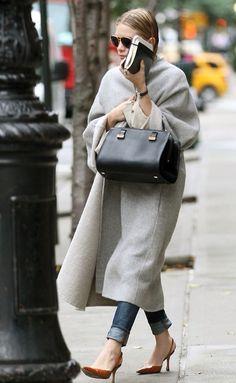 Classic grey coat, black bag and camel slingbacks - Olsen twins, we love you