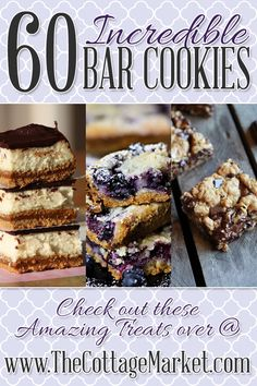 The Incredible Bar Cookie Collection ~ 60 Fabulous Bar Cookie Recipes Mini Desserts, Just Desserts, Dessert Recipes, Bar Recipes, Bar Cookie Recipes, Yummy Recipes, Cream Recipes, Oreo Dessert, Dessert Bars