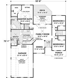 Craftsman Style House Plan - 3 Beds 2 Baths 1800 Sq/Ft Plan #56-631 Floor Plan - Main Floor Plan - Houseplans.com