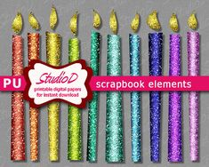 Rainbow colors candle clipart Glitter clipart Printable digital scrapbook elements Chanukah decoration Birthday clipart instant download by StudioDprint