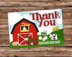 INSTANT DOWNLOAD - Printable Farm Barnyard Birthday Thank You Card by thepaperblossomshop on Etsy https://www.etsy.com/listing/178347169/instant-download-printable-farm-barnyard