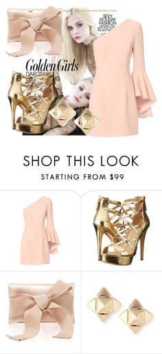 """""""Golden Girl"""" by triceyfashion on Polyvore featuring Exclusive for Intermix, GUESS, Oscar de la Renta and Valentino"""