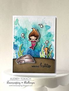 Lawn Fawn Mermaid for You; watercolor; hello; cute