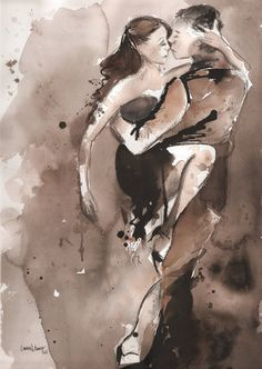 it takes two to tango    Watercolor and Charcoal -  Untitled Tango 3 - Lauren Maurer