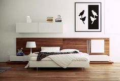 Best 15 Stylish Bedroom Design Inspirations 2013 : Spacious White Themed Modern Bedroom with Small White Bed and Wooden Floor