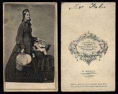 Carte de visite of Almira Fales, heroic Civil War nurse, shown holding her basket of medical supplies, reading material, food, etc,  ...