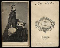 Carte de visite of Almira Fales, heroic Civil War nurse, shown holding her basket of medical supplies, reading material, food, etc,  ...