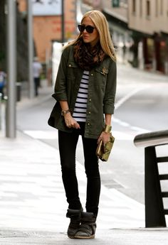 Zara Jackets, Kzeniya Clutches and Isabel Marant Sneakers LOVE the animal print scarf plus coral lipcolor. and style Fashion Kids, Look Fashion, Street Fashion, Fall Winter Outfits, Autumn Winter Fashion, Combat Jacket, Military Jacket, Military Green, 2014 Fashion Trends
