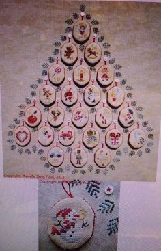 Christmas ADVENT by Filigram Cross Stitch Chart 24 Ornament Designs & Background #filigram