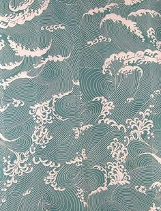 Katzome ro - Silk kimono for summer Japanese Textiles, Japanese Patterns, Japanese Fabric, Japanese Prints, Japanese Design, Japanese Waves, Motifs Textiles, Textile Patterns, Print Patterns