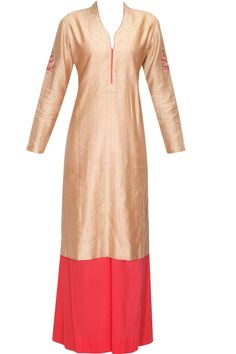 Blush embroidered kurta with pink palazzos and ivory block print dupatta available only at Pernia's Pop Up Shop.#perniaspopupshop #shopnow #anjumodi #clothing #festive #newcollection
