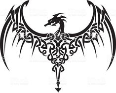 Celtic ailes tatouage de Dragon cliparts vectoriels libres de droits