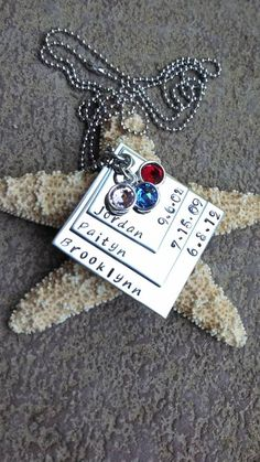 Stainless Steel Hand Stamped Mother's Necklace 3 Layer Square With Names and Birthdates