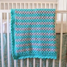 Crochet For Children: Granny Stripe Blanket Tutorial: Scalloped Border