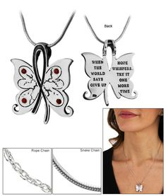 Hope Whispers Diabetes Awareness Sterling Necklace at The Diabetes Site
