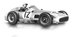 1955: Mercedes-Benz Formula One racing car W 196 R:  The W 196 R dominated the race tracks again in 1955. In the seven races of the season, it chalked up five victories, including four 1-2 finishes, and Juan Manuel Fangio repeated his win of the Formula One World Championship. The 300 SLR captured the sports car world championship and the 300 SL the European Touring Car Championship.  Displacement:8  Maximum Output:2497 cc (152 cu in)  Top speed:275 km/h (170 mph)