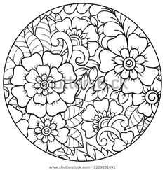 Outline round floral pattern for coloring book page. Antistress for adults and children. Doodle ornament in black and white. Floral Drawing, Mandala Drawing, Mandala Art, Fabric Painting, Diy Painting, Diy Tie Dye Techniques, Art Studio Room, Pichwai Paintings, Floral Embroidery Patterns