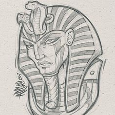 Lessons That Will Get You In The arms of The Man You love Egyptian Drawings, Egyptian Art, Badass Drawings, Art Drawings Sketches Simple, Tattoo Design Drawings, Tattoo Sketches, King Tut Tattoo, Desenho New School, Graffiti Characters