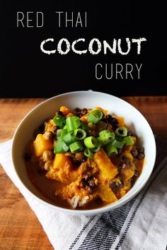Curry is my absolute favorite food, especially during the cold winter months. I'm in love with red curries at the moment since they go perfectly with winter vegetables like squash, and they a… Coconut Milk Curry, Thai Coconut, Vegan Gluten Free, Vegan Vegetarian, Curry One, Red Thai, Red Curry Paste, Vegan Kitchen, Plant Based Protein
