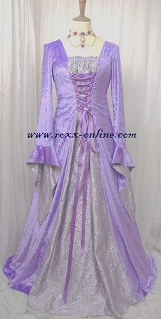 Designer Clothes, Shoes & Bags for Women Purple Gowns, Purple Dress, Rapunzel Halloween Costume, Halloween Costumes, Lavender Gown, Simply Fashion, Beautiful Costumes, Fantasy Dress, Medieval Dress