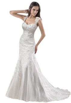 GEORGE BRIDE Removable Lace Strap Chapel Train Wedding Dress Size 10 White -- You can get more details by clicking on the image.