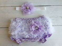 Lavender Baby Bloomer Set with Headband by SomethingBleuShop, $20.00