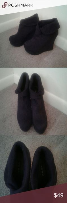 Black Suede Nine West Wedge Booties These are Nice Wedge Boots in Excellent Condition!! Worn once! Nine West Shoes Ankle Boots & Booties