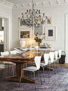 dining room...table, white scoop chairs, chandelier