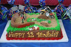 dirt bike birthday cake for cayd! Dirt Bike Cakes, Dirt Bike Party, Bike Birthday Parties, Dirt Bike Birthday, Happy 12th Birthday, Baby Birthday, Birthday Cakes, Birthday Ideas, Third Birthday