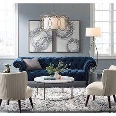 Interior Living Room Design Trends for 2019 - Interior Design Blue Couch Living Room, Formal Living Rooms, Living Room Interior, Home Living Room, Living Room Designs, Navy Blue And Grey Living Room, Modern Living, Living Area, French Country Living Room
