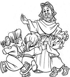La Catequesis: Dibujos para colorear Jesús con los niños y niñas