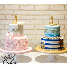 Twins 1st Birthday cake for Ava and Benjamin. Nautical boy theme and whimsical ruffles for a girl.