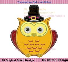 Pilgrim Owl applique, Thanksgiving Machine Embroidery Design, Owl digital pattern digitize, owl-009-xa