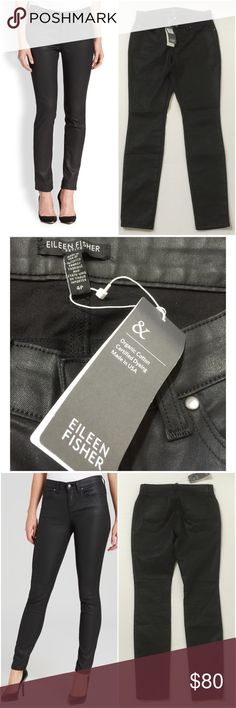 Eileen Fisher Faux Leather Skinny Jeans Size 4P Eileen Fisher Petites Women's Faux Leather Skinny Jeans Size 4P Black Color 1 External Metal Button Closure 2 Front Pockets With Metal Rivets 1 Front Coin Pocket With Metal Rivet 2 Rear Pockets Organic cotton Waxed Denim Machine Washable 78% Organic Cotton 21% Polyester 1% Elastane Inseam Approx. 28 Inches Rise Approx. 8.5 Inches Waist Approx. 27 Inches Hips Approx. 34 Inches Cuff Approx. 10 Inches Compare Measurements To Your Own Well Fitting…