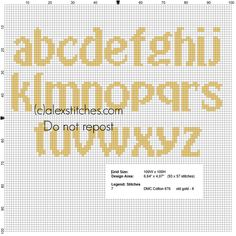 Lowercase cross stitch alphabet for names with Minions - free cross stitch patterns by Alex