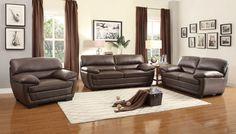Adrian Contemporary Bi-Cast Vinyl Living Room Set