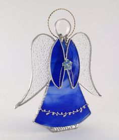Angel Ornament Blue Stained Glass Handmade OOAK by Nostalgianmore