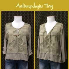 "Anthro ""Embroidered Daphne Top"" by Tiny Light weight knit with woven embroidered front.  3/4 sleeves with button tab option.  Great condition.  **  Prices are as listed- Nonnegotiable.  I'm happy to bundle to save shipping costs, but there are no additional discounts.  No trades, paypal or condescending terms of endearment  ** Anthropologie Tops Blouses"