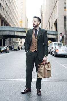 Forest green donegal tweed suit by Michael Andrews Bespoke (Cloth by Ariston A 579/27)  Camel hopsack waistcoat by Michael Andrews Bespoke (...