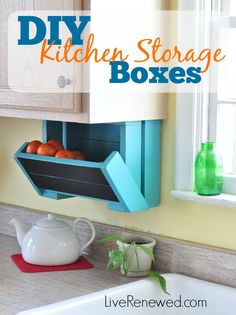 Need more storage in your kitchen? Check out this easy DIY tutorial to make under-cabinet kitchen storage boxes. These boxes can hold produce or other kitchen items and help to keep your counters clear! A great weekend project! DIY Kitchen Storage Boxes @ LiveRenewed.com