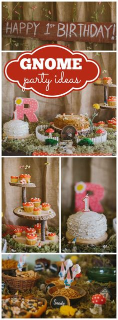 How fun is this gnome and toadstool party for a girl's first birthday! See more party ideas at CatchMyParty.com!