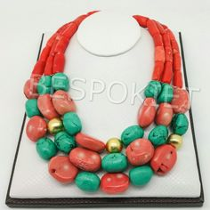 Nigerian wedding beaded jewelry set coral beads Nigeriam beads bridal necklace set turquoise beads