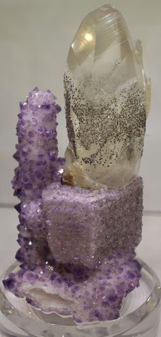 Quartz on Flourite: from the 2013 Tucson Gem & Mineral Show (photo by Renate Surh)