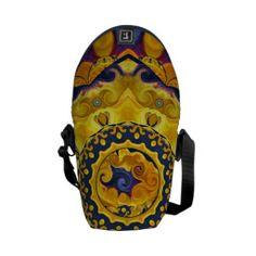 Fire and Ice Blue Mandala Mini Messenger Bag
