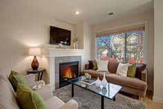 Contemporary Living Room with Hardwood floors, Paint, Standard height, stone fireplace, Safavieh Malibu Shag Silver Area Rug