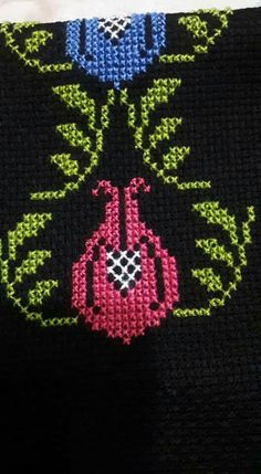 This Pin was discovered by Hül Cross Stitching, Cross Stitch Embroidery, Hand Embroidery, Cross Stitch Designs, Cross Stitch Patterns, Baby Knitting Patterns, Crochet Patterns, Baby Bonnet Pattern, Palestinian Embroidery