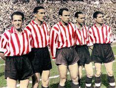 Mítica delantera del Athletic entre los años 1943 y 1950. De izquierda a derecha: Iriondo, Venancio, Zarra, Panizo y Gaínza.