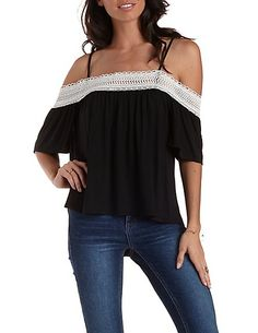 Crochet-Trim Cold Shoulder Top #CharlotteLook #shouldertop