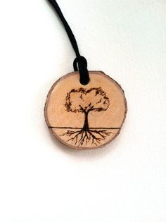 Wood burned wood slice tree with roots pendant necklace keychain
